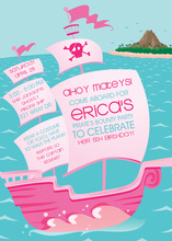 Pink Pirate Ship Kids Birthday Invitations