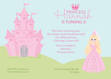 Blonde Hair Princess Castle Invitations