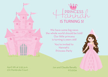 Brunette Hair Princess Castle Invitations