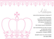 Princess Crown White Invitations