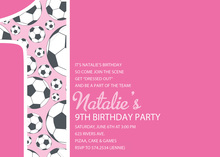 Girl Soccer Number One Pink Invitations