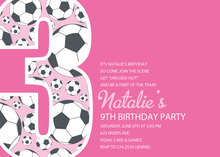 Girl Soccer Number Three Pink Invitations