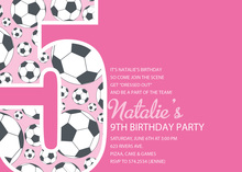 Girl Soccer Number Five Pink Invitations