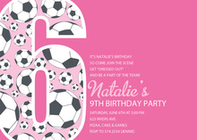 Girl Soccer Number Six Pink Invitations