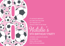 Girl Soccer Number Eight Pink Invitations
