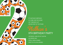 Soccer Number Two Green Birthday Party Invitations