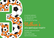 Soccer Number Three Green Birthday Party Invitations