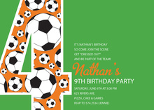 Soccer Number Four Green Birthday Party Invitations