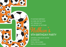 Soccer Number Five Green Birthday Party Invitations