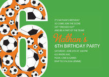 Soccer Number Six Green Birthday Party Invitations