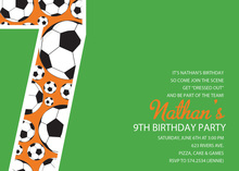 Soccer Number Seven Green Birthday Party Invitations