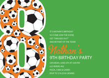 Soccer Number Eight Green Birthday Party Invitations