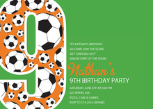 Soccer Number Nine Green Birthday Party Invitations