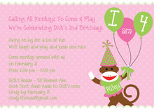 Sock Monkey Pink Invitations