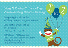 Sock Monkey Blue Invitations