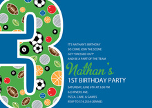Boy Soccer Number Three Blue Invitations