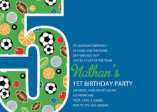 Boy Soccer Number Five Blue Invitations