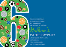 Boy Soccer Number Six Blue Invitations