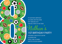 Boy Soccer Number Eight Blue Invitations