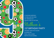 Boy Soccer Number Nine Blue Invitations
