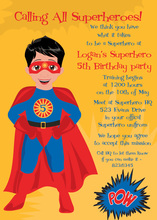 Black Hair American Super Hero Invitations