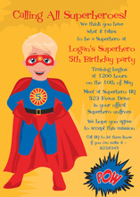 Blonde Hair American Super Hero Invitations