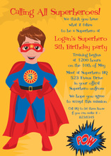 Brunette Hair American Super Hero Invitations