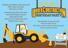 Under Construction Sign Birthday Invitations