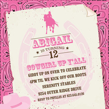 Pink Bandana Cowgirl Invitations