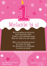 1st Birthday Cake Pink Invitations