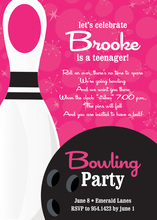 Bowling Party Numbered Pink Invitations