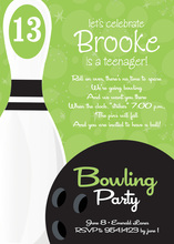 Bowling Party Numbered Green Invitations