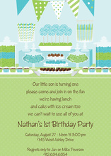 Birthday Candy Buffet Blue Invitations