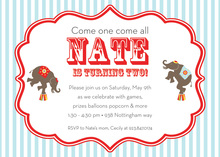 Acrobat Elephant Circus Invitations