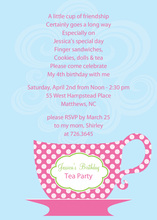 Cookie Tea Cup Polka Dots Invitation