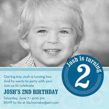 Dotted Blue Circle Photo Birthday Party Invitations