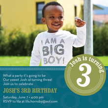 Dotted Circle Teal Photo Birthday Party Invitations