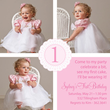 Simple Squares Pink Scalloped Circle Invitations