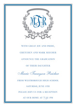 Blue Silver Border Invitations