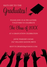 Black Hat Reaching High Red Graduation Invitations