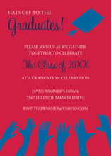 Blue Hat Reaching High Red Graduation Invitations