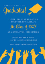 Gold Hat Blue Invitations