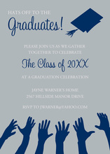 Navy Hat Reaching High Silver Graduation Invites