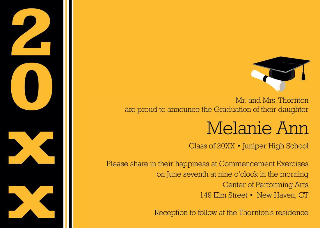 Career Gold Black Band Graduation Invitations