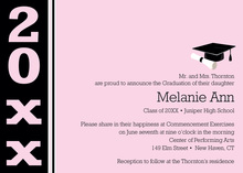 Her Pink Black Band Graduation Invitations