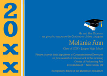 Features Blue Gold Band Graduation Invitations