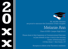 Traditional Blue Black Band Graduation Invitations