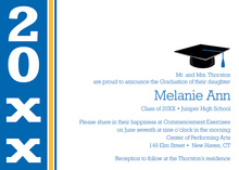 Traditional Blue Gold Graduation Invitations