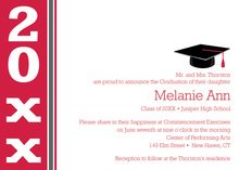 Red Gray Vertical Band Graduation Invitations