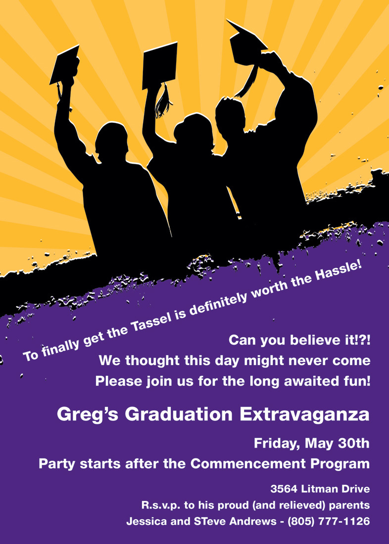 Silhouette Graduates Purple Gold Invitations
